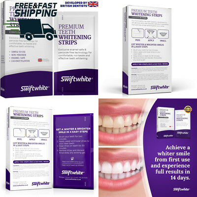 Teeth Whitening Strips by Swiftwhite® UK/EU Safety Approved, 100% Money Back...