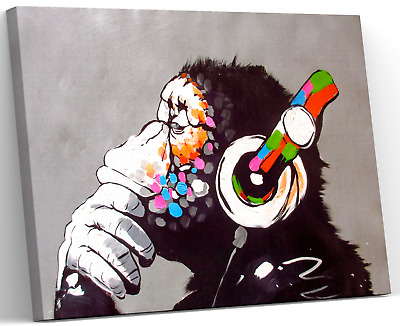 Banksy Dj Monkey Gorilla Chimp Canvas Picture Wall Art Large