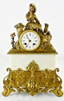Superb Antique 8 Day 1840's French Empire Figural Bronze & Marble Mantel Clock