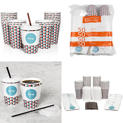 Set Of 50 12Oz Paper Coffee Cups Lids Sleeves & Stirrers Perfect For A Party Or