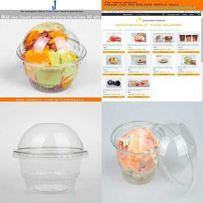 8 Oz Clear PLASTIC Cups For Ice Cream Dessert Snack Bowl W Dome Lids No Hole 30S