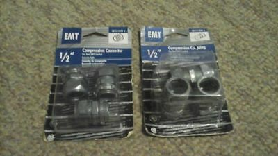 "EMT Conduit Compression Connectors & Couplings 1/2"" (6) #18021, #18022 Free Ship"