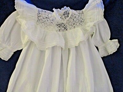 S51 Vintage 1890s Doll Or Baby Christening Gown Dress Unique Handmade Lace