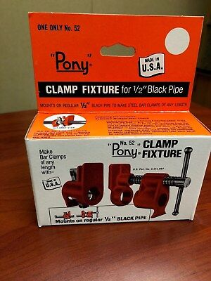 """#52 Pony Clamp Fixture For 1/2"""" Black Pipe"""
