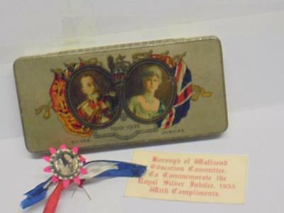 Rare - King George V - Silver Jubilee Tin And Badge- 1910 - 1935