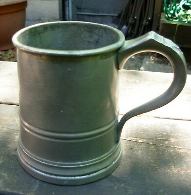 Antique Pewter Pint Tankard, The Black Dog ,S.Bayes,Carshalton UK  C 1902-11
