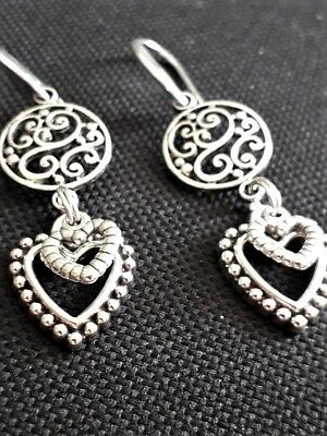 Silver Plated drop EARRINGS With Tibetan Charms Double Heart Lovely Gift