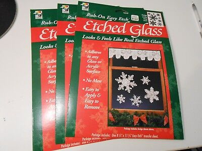 3 Unopened Packages of Rub On Etched Glass SNOWFLAKES -- New in Package