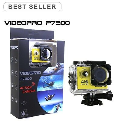 VIDEOPRO HD 4K WIFI Underwater Action Camera DV Camcorder 16MP 2 inch LCD Yellow