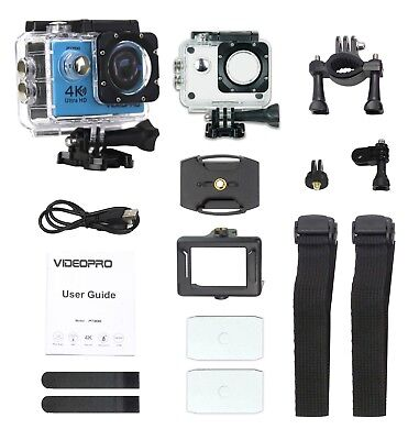 VIDEOPRO HD 4K WIFI Underwater Action Camera DV Camcorder 16MP 2 inch LCD Blue