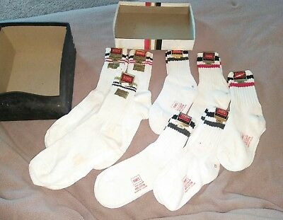 8 PAIR 1970'S vintage HANES RED LABEL  SOCKS WITH TAGS AND BOX