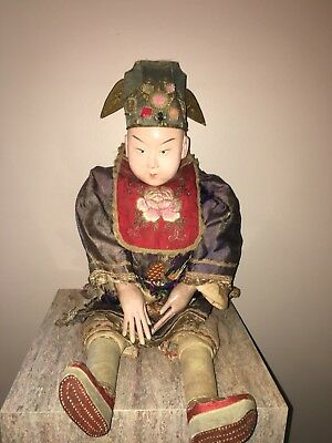 1800's ANTIQUE CHINESE OPERA DOLL China HUGE 22 Inches Ornate Must See