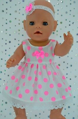 "Play n Wear Doll Clothes For 17"" Baby Born FLURO PINK POLKA DOT DRESS~HEADBAND"