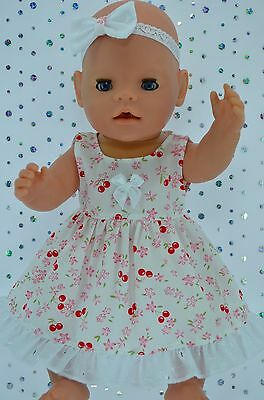 """Play n Wear Doll Clothes To Fit 17"""" Baby Born   CHERRY/FLOWER DRESS~HEADBAND"""