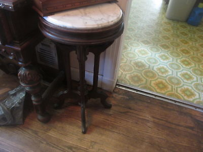 victorian walnut marble top (round) plant stand-lamp stand