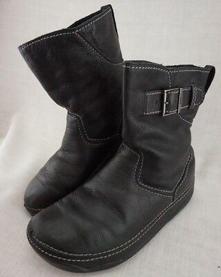 c912676199fd Fitflop Short Superboot Black Leather Pull On Wobble Ankle Boot Women s 11   135