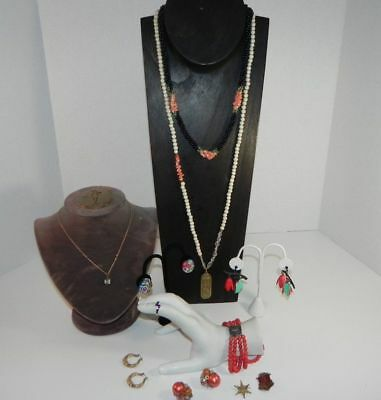 Vintage Costume Jewelry Lot Eye pendant Millefiori earrings enamels coral style+
