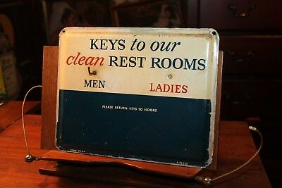 1958 Gulf Gas Station Keys To Our Clean Rest Rooms Metal Sign Hook Service Oil