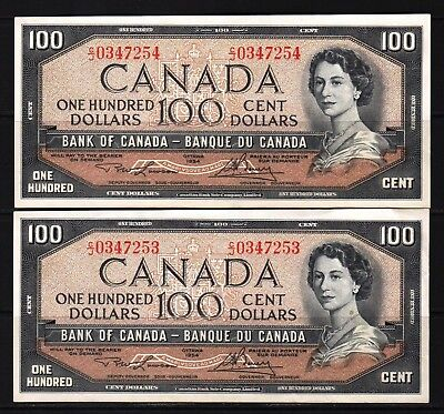 Canada - 1954 Bank of Canada 2X100 Dollar Pair Banknote P82c  XF++ condition