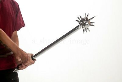 """Medieval Spiked Ball Mace Silver (Stainless Steel) Morning Star Morgenstern 34+"""""""