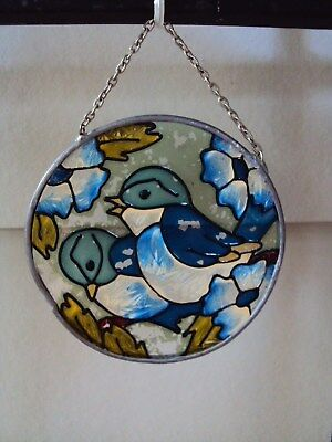 "Stained Glass Suncatcher Blue Birds Flowers - 3.75"" diameter"