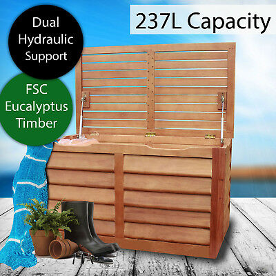 Eucalyptus Timber Outdoor Wooden Storage Box Sturdy Bench Garden Deck Toy Shed