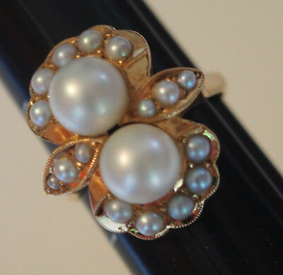 5gr Vtg Antique Deco 14k Gold Bow Dbl 7mm Pearls & Seed Pearls Oblong Ring 8.75