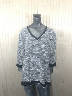 Oh Baby By Motherhood Large Black Gray Terry Cloth V Neck Tunic Sweater 3/4