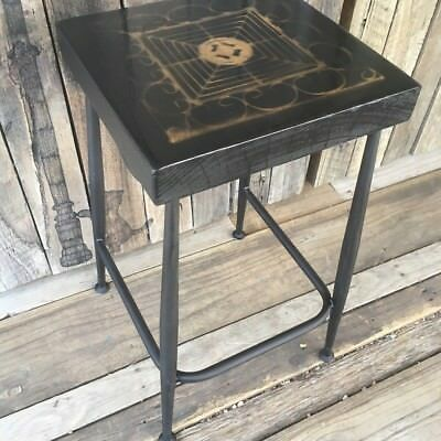 Vintage Metal Seat With Timber Top