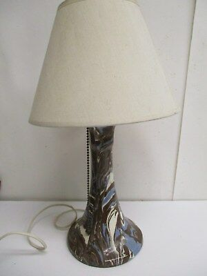 Vintage Niloak Missionware Swirled Pottery Lamp - Arts & Crafts Mission Style