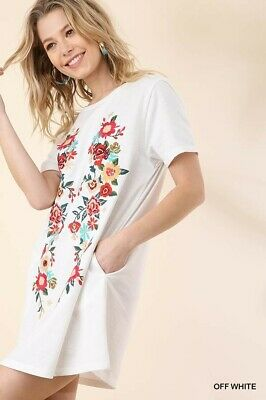 UMGEE Floral Embroidered Short Sleeve Tunic Dress Plus Size XL
