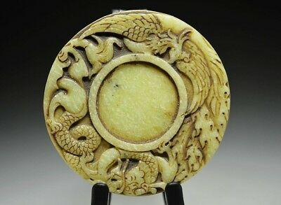Exquisite old white jade hand carving *dragon phoenix* Brush wash R03