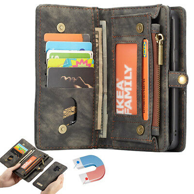 For Samsung Galaxy Note 9 / S10+ Removable Flip Zipper Leather Wallet Case Cover