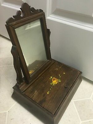 Vintage Antique Wood Wooden Jewelry Vanity Dresser Trinket Box with Mirror