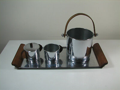 Art Deco Chrome Tray | 1930s Vintage Cocktail Wood Handles Chase Manning Bowman