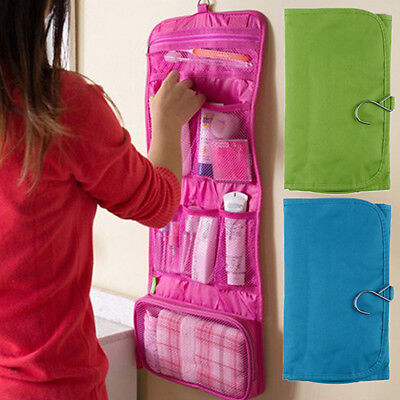 EP_ Canvas Travel Toiletry Hanging Wash Bag Makeup Cosmetic Folding Organizer We