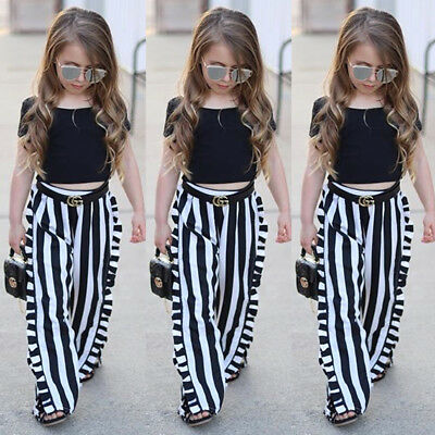 USA Fashion Toddler Kids Baby Girl Tops T-shirt+Stripe Long Pants Outfit Clothes