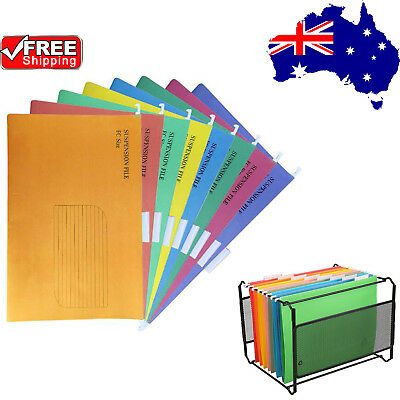 50x Suspension Files Foolscap Hanging File Folder Tab Colour Filing Cabinet O