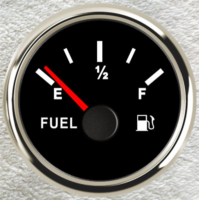Fuel Level Gauge,0-90ohms,Black,12V/24V,Oil Tank Level,2''/52mm ,Universal E-F