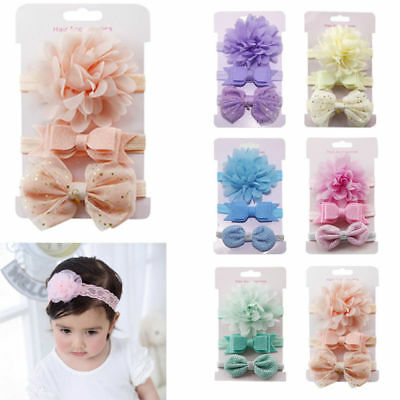 3Pcs/Set Bow Headband Ribbon Elastic Baby Headdress Girl Kids Newborn Hair Bands