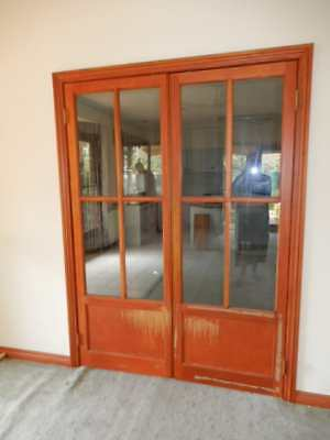 FRENCH DOORS – LARGE INTERNAL TIMBER FRENCH DOORS, 8 GLASS PANES, removed, 28g