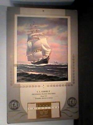 calendar: sailing ship, C.L.Cornely, groceries Madera, PA 1941, Sterling Gas