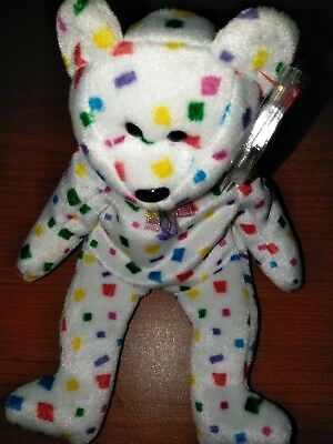 Rare Ty 2K Beanie Baby Bear Flat Tush Tag With Errors Confetti Color