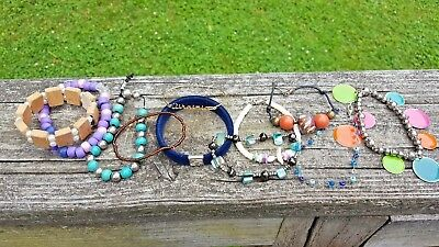 Vintage Junk Drawer Lot-11 Bracelets-Vinyl-GG Velour-Lots of Beads-Misc.-LooK