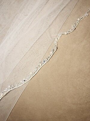 Bel Aire Bridal Beaded Ivory Veil #v7423 With Pearls, Beads, And Sequins