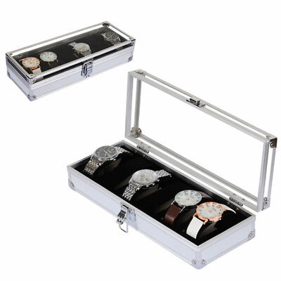 6 Grid Aluminium WatchBox Display Case Jewelry Collect Wristwatch Holder Fashion