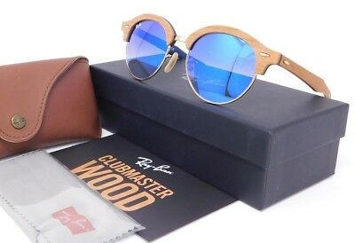db7a65694d Ray Ban CLUBROUND WOOD RB4246M 11807Q Wood Gold frame with Blue Gradient  lenses