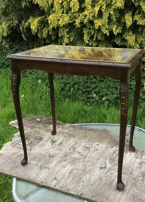 Vintage Antique Glass Top Mahogany Coffee Side Occasional Table *