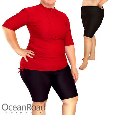 Womens Plus Size Swim Shorts Above Knee Length Tights Black for Larger Ladies