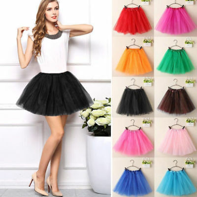 Ladies Adults Ballet Tutu Mini Skirt Princess Tulle Pettiskirt Skirt 40cm AU P